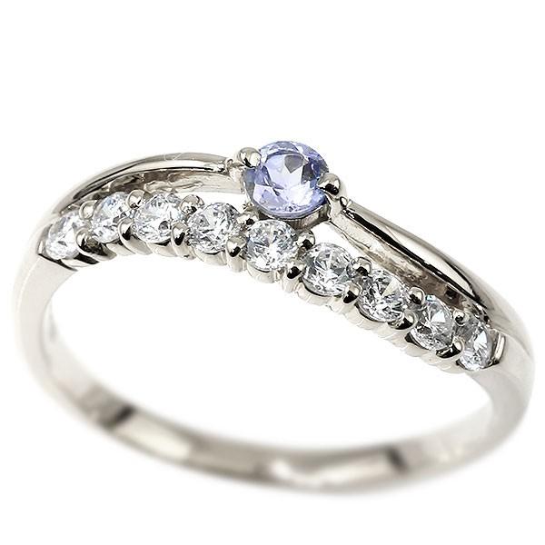 リング ダイヤモンド タンザナイト ホワイトゴールドk10 ウェーブ 指輪 10金 ハーフエタニティ 2連リング ダイヤ 12月誕生石 ピンキーリング レディース