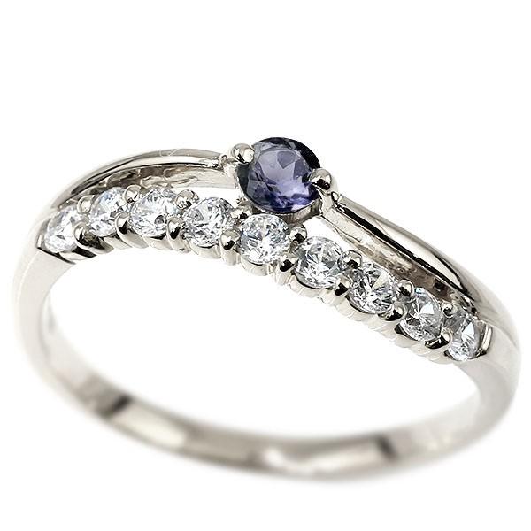 リング ダイヤモンド アイオライト ホワイトゴールドk18 ウェーブ 指輪 18金 ハーフエタニティ 2連リング ダイヤ 12月誕生石 ピンキーリング レディース