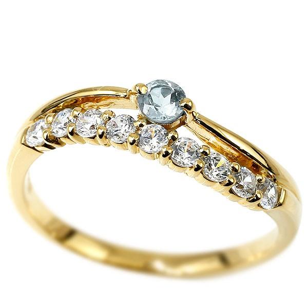 リング ダイヤモンド アクアマリン イエローゴールドk18 ウェーブ 指輪 18金 ハーフエタニティ 2連リング ダイヤ 3月誕生石 ピンキーリング レディース 秋 冬