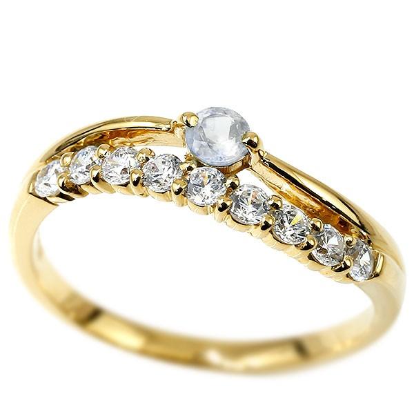 リング ダイヤモンド ブルームーンストーン イエローゴールドk18 ウェーブ 指輪 18金 ハーフエタニティ 2連リング ダイヤ 6月誕生石 ピンキーリング レディース