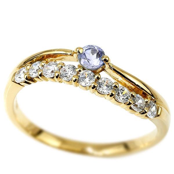 リング ダイヤモンド タンザナイト イエローゴールドk18 ウェーブ 指輪 18金 ハーフエタニティ 2連リング ダイヤ 12月誕生石 ピンキーリング レディース 秋 冬