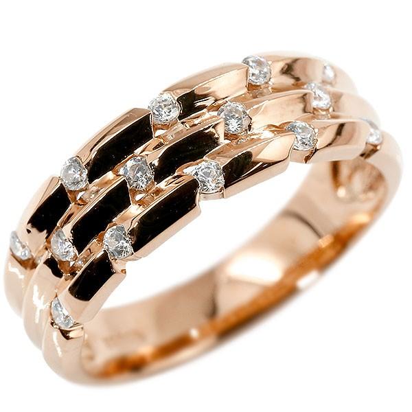 リング ピンクゴールドk18 キュービックジルコニア 婚約指輪 ピンキーリング 指輪 幅広 エンゲージリング 18金 送料無料