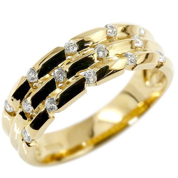 リング イエローゴールドk18 キュービックジルコニア 婚約指輪 ピンキーリング 指輪 幅広 エンゲージリング 18金 送料無料