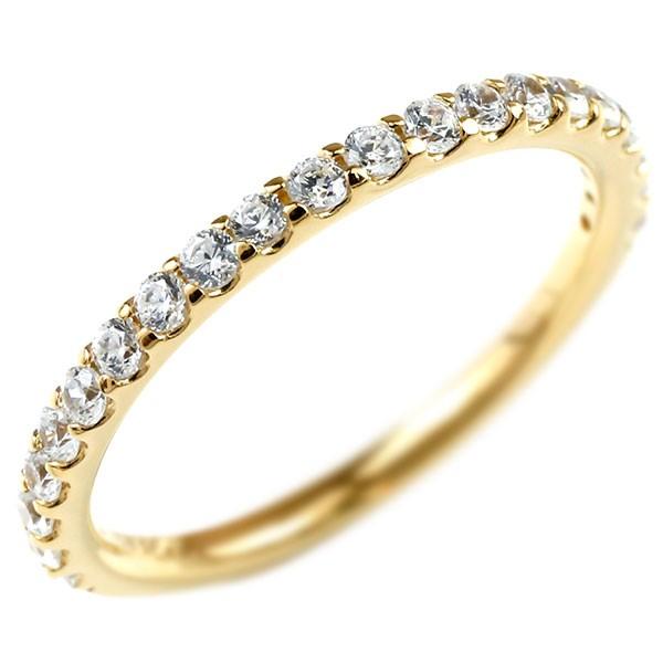 婚約指輪 ダイヤモンド ハーフエタニティ リング イエローゴールドk10 エンゲージリング ダイヤ 指輪 ピンキーリング 10金 宝石 レディース 送料無料