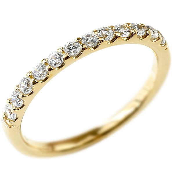 ハーフエタニティ 送料無料 ピンキーリング 宝石 レディース 10金 イエローゴールドk10 ダイヤ 指輪 婚約指輪 ダイヤモンド エンゲージリング リング