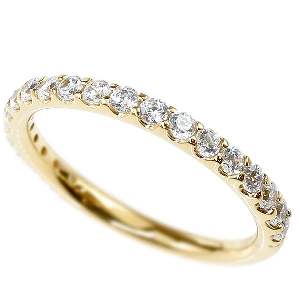 婚約指輪 ダイヤモンド ハーフエタニティ リング イエローゴールドk18 エンゲージリング ダイヤ 指輪 ピンキーリング 18金 宝石 レディース 送料無料
