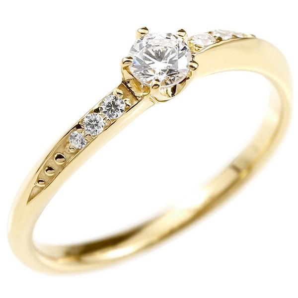 婚約指輪 ダイヤモンド リング イエローゴールドk18 エンゲージリング ダイヤ 一粒 大粒 指輪 ピンキーリング 18金 宝石 レディース 送料無料