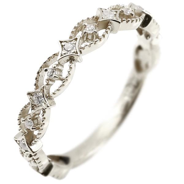 婚約指輪 リング ダイヤモンド ホワイトゴールドk10 エンゲージリング ダイヤ 指輪 透かし ミル打ち ピンキーリング 10金 宝石 レディース 送料無料