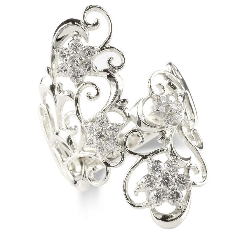 婚約指輪 安い プラチナ リング レディース ダイヤモンド 0.5ct エンゲージリング ダイヤ 幅広 透かし 指輪 ピンキーリング pt900 宝石 女性 送料無料