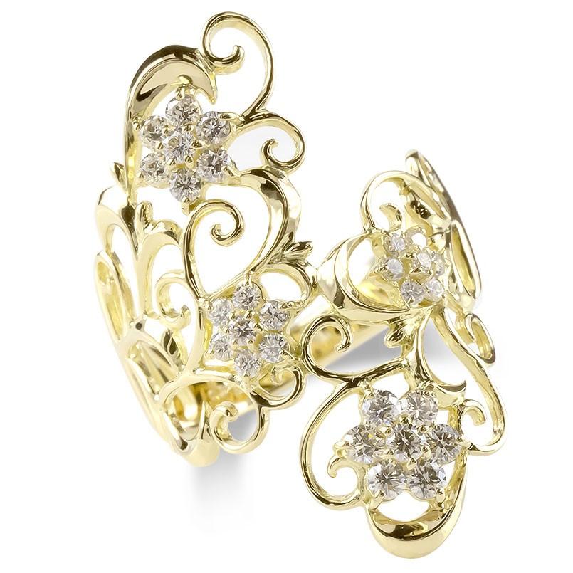 18金 リング レディース ダイヤモンド 0.5ct 婚約指輪 安い エンゲージリング ダイヤ 幅広 透かし 指輪 ピンキーリング ゴールド イエローゴールドk18 送料無料