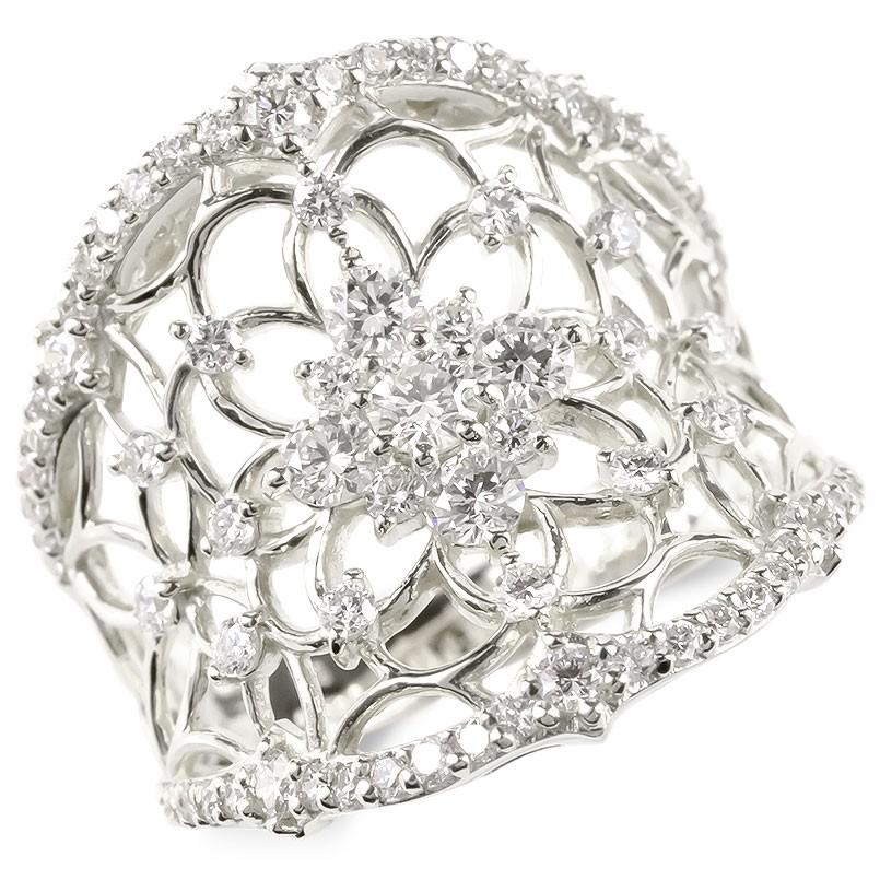 婚約指輪 安い プラチナ リング レディース ダイヤモンド 0.97ct エンゲージリング ダイヤ 幅広 透かし 指輪 ピンキーリング pt900 宝石 女性 送料無料
