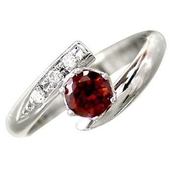 ピンキーリング ダイヤモンド ガーネット 指輪 ホワイトゴールドk10リング ダイヤ 10金 ストレート 2.3 送料無料