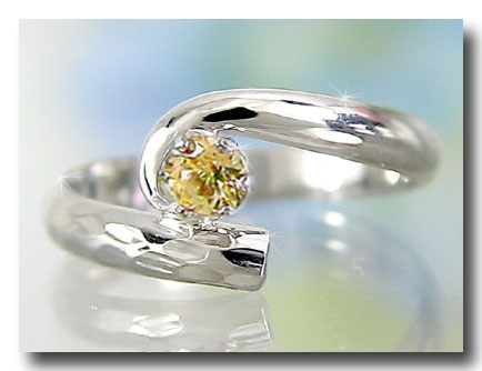 ピンキーリング アンティーク シトリン 指輪 ホワイトゴールドk10リング 10金 ストレート 宝石 送料無料