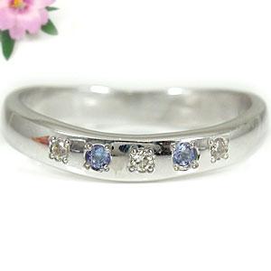 タンザナイトリングダイヤモンド シルバー925指輪 ダイヤ ストレート 送料無料