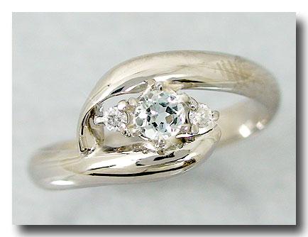 ピンキーリング 指輪アクアマリンリングダイヤモンド ホワイトゴールドk18 ダイヤ 3月誕生石 18金 ストレート 送料無料