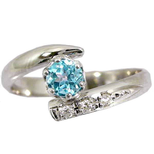 ピンキーリング ホワイトゴールドk10リング 指輪 ダイヤモンド リング ブルートパーズ ダイヤ 10金 ストレート 宝石 送料無料