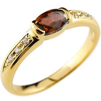 ピンキーリング ガーネットリングk10指輪ダイヤモンド ダイヤ 10金 ストレート 宝石 送料無料