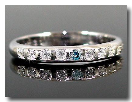 ピンキーリング ピンキーリングダイヤモンドリング ダイヤモンド 0.09ctブルーダイヤモンド ホワイトゴールドk18指輪 18金 ダイヤ 4月誕生石 ストレート 2.3