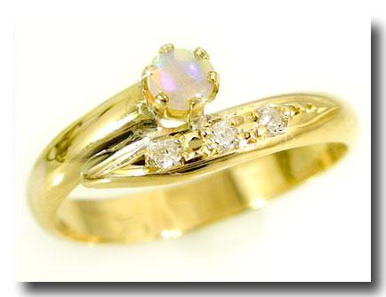 ピンキーリング ピンキーリングオパールリングダイヤモンド k10指輪10月の誕生石オパール ダイヤ 10金 ストレート 宝石 送料無料