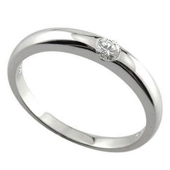 ピンキーリング 指輪 ホワイトゴールドk10リング ダイヤモンド リング 一粒0.10ct 10金 ダイヤ ストレート 送料無料