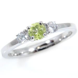 ペリドット プラチナリング 8月誕生石ダイヤモンド0.16ct ピンキーリング 指輪 ダイヤ ストレート 2.3 宝石 送料無料