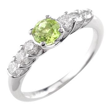 ペリドット ダイヤモンド リング 8月誕生石 ピンキーリング 指輪 ホワイトゴールドk18 ダイヤ 18金 ストレート 宝石 送料無料