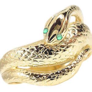 ピンキーリング エメラルドリング スネークリング イエローゴールドk18 k18 蛇リング 指輪 18金 5月誕生石 宝石 送料無料