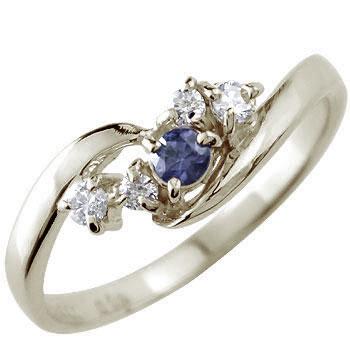 ピンキーリング ダイヤモンド リング アイオライト ホワイトゴールドk10リング 指輪 10金 ダイヤ ストレート 宝石 送料無料