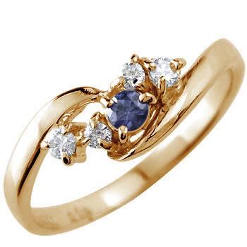 ピンキーリング ダイヤモンド リング アイオライト ピンクゴールドk10リング 指輪 10金 ダイヤ ストレート 宝石 送料無料