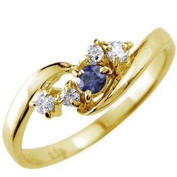 ピンキーリング ダイヤモンド リング アイオライト イエローゴールドk10リング 指輪 10金 ダイヤ ストレート 宝石 送料無料