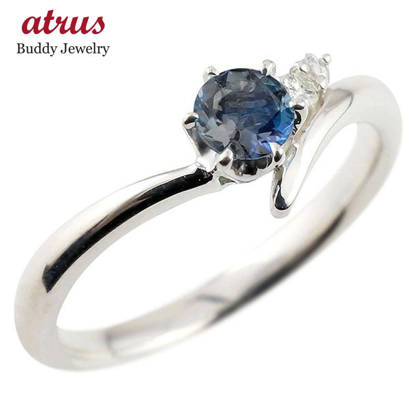 指輪 ブルーサファイア ダイヤモンド 最短納期 シルバーsv925リング 宝石 ピンキーリング 一粒 sv925 9月誕生石 送料無料 レディース 大粒