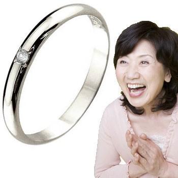 ピンキーリング ダイヤモンド 指輪 刻印 ホワイトゴールドk18 ばぁばリング お誕生日 敬老の日 長寿のお祝い 18金 ダイヤ 4月誕生石 ストレート 2.3 送料無料