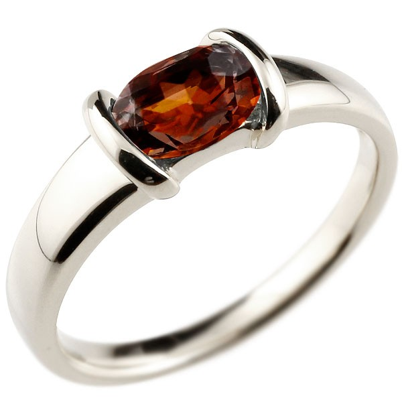 ピンキーリング ガーネットリングホワイトゴールドk18指輪 18金 1月誕生石 ストレート 宝石 送料無料