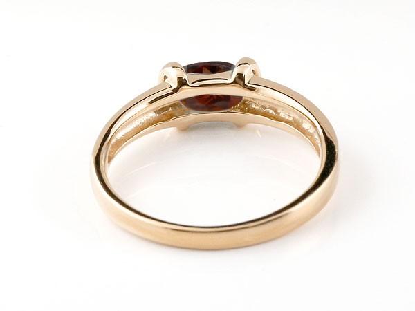 ピンキーリング ガーネットリング ピンクゴールドk10 指輪 10金 1月誕生石 ストレート 宝石 送料無料