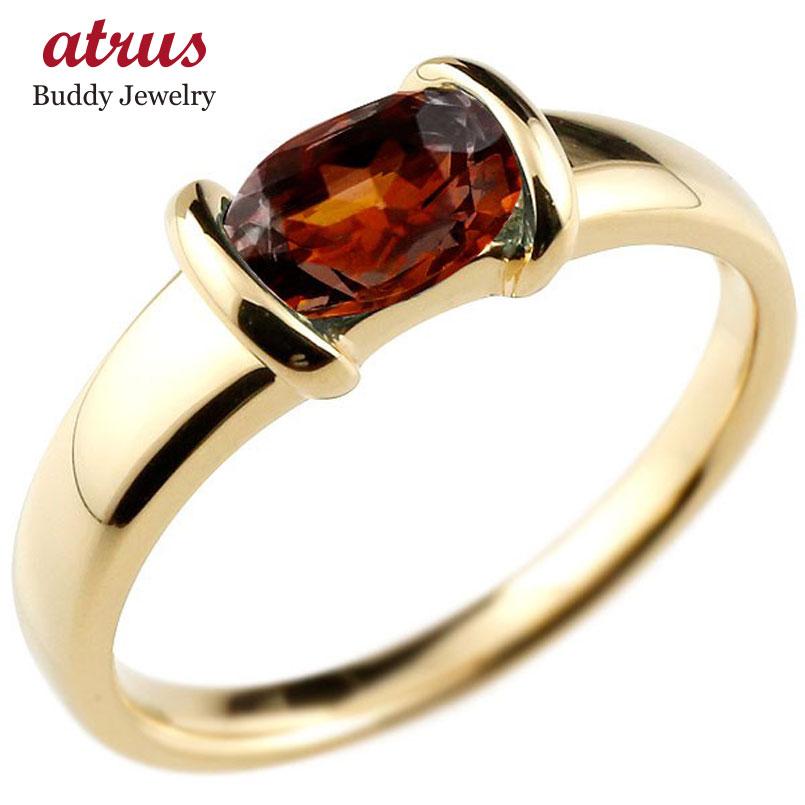 ピンキーリング ガーネットリング イエローゴールドk18 指輪 18金 1月誕生石 ストレート 宝石 送料無料