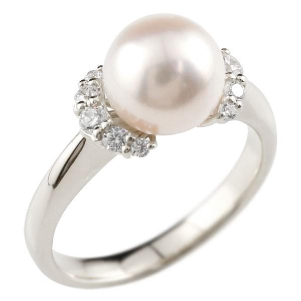 パールリング 真珠 フォーマル キュービックジルコニア ピンキーリング ホワイトゴールドk10 リング 指輪 10金 ストレート 送料無料