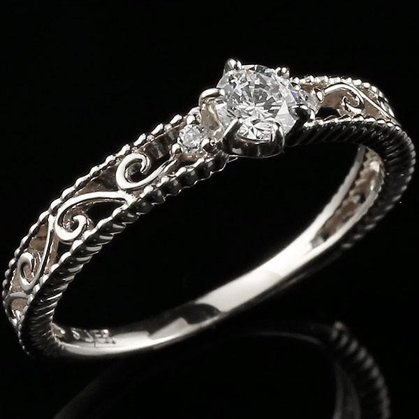 鑑定書付き VSクラス ホワイトゴールドk18リング ダイヤモンド アンティーク 透かし ミル打ち 指輪 一粒 大粒 ダイヤ ホワイトゴールドリング k18 18金 送料無料