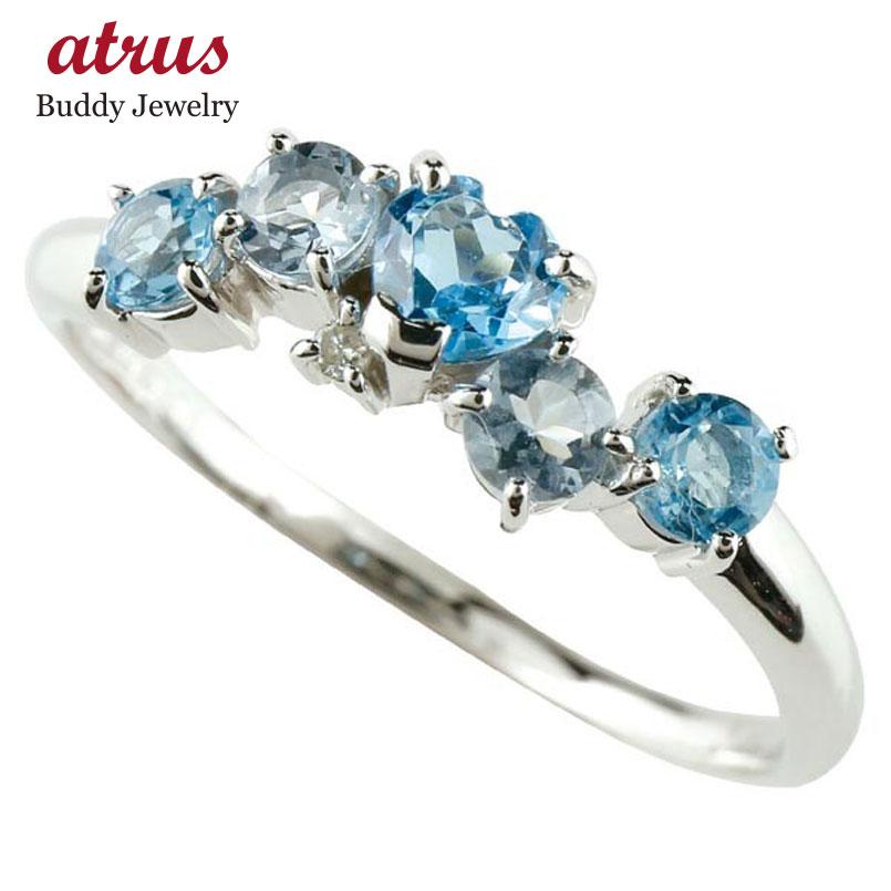 ピンキーリング トパーズ 指輪 プラチナリング ブルートパーズリングハートリングアクアマリンダイヤモンド 3月誕生石 ダイヤ 宝石 送料無料