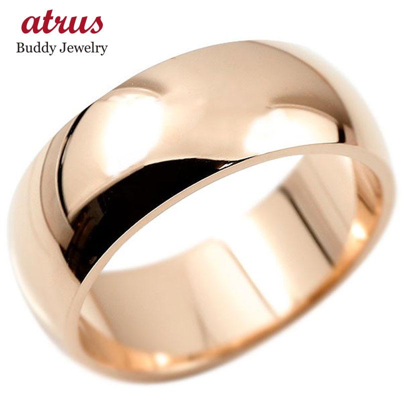 指輪 ピンクゴールドk18 幅広 リング 甲丸 鍛造 たんぞう 地金 リング シンプル 宝石なし 大きいサイズ レディース 地金 ピンキーリング リング 送料無料