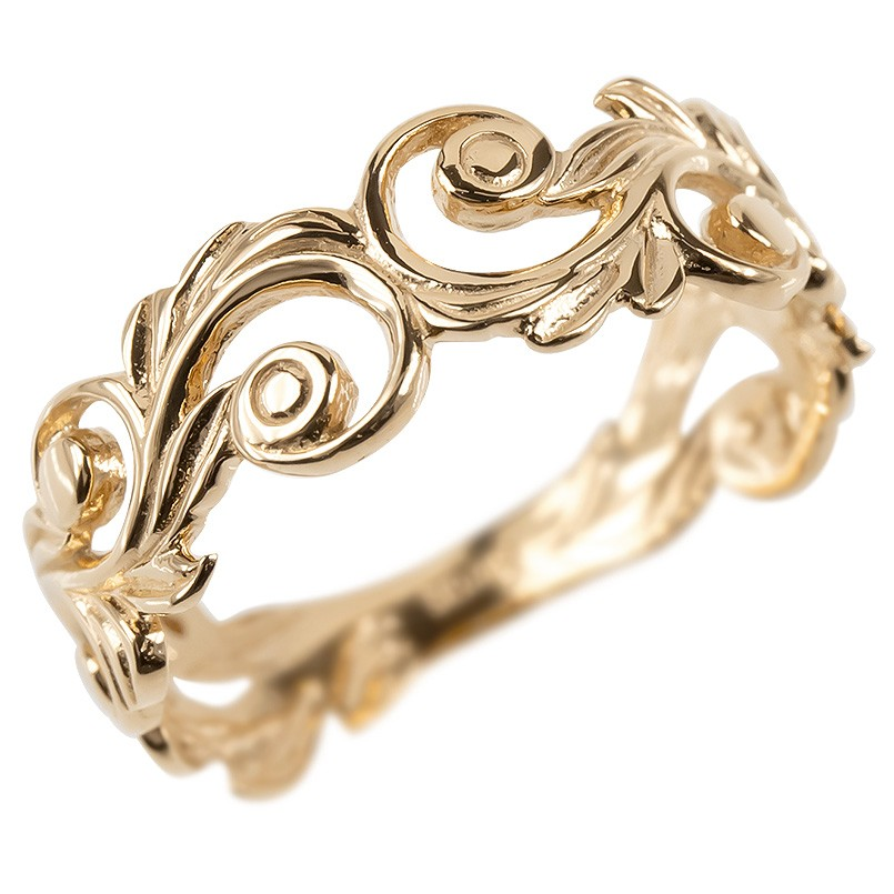 18金 リング ゴールド レディース ハワイアンジュエリー 指輪 ピンクゴールドk18 透かし 婚約指輪 スクロール マイレ ピンキーリング 地金 シンプル 送料無料