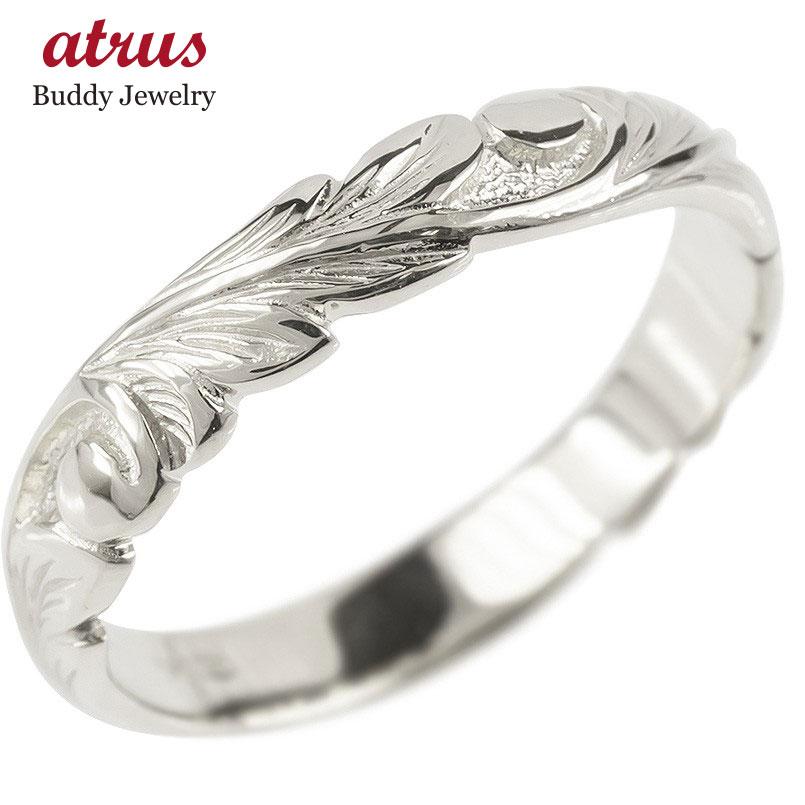 18金 リング ゴールド レディース ハワイアンジュエリー 指輪 ホワイトゴールドk18 婚約指輪 安い スクロール マイレ ピンキーリング 地金 シンプル 送料無料