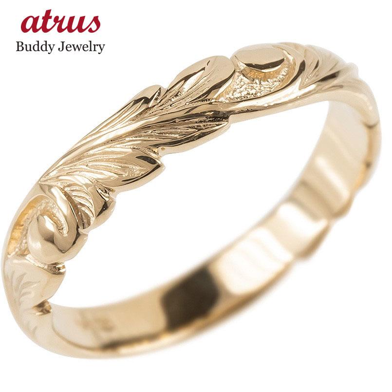 ゴールド リング レディース ハワイアンジュエリー 指輪 ピンクゴールドk10 婚約指輪 安い スクロール マイレ ピンキーリング 地金 シンプル 送料無料