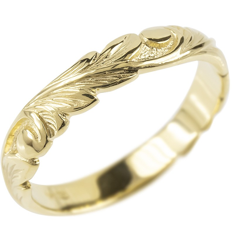 18金 リング ゴールド レディース ハワイアンジュエリー 指輪 イエローゴールドk18 婚約指輪 安い スクロール マイレ ピンキーリング 地金 シンプル 送料無料