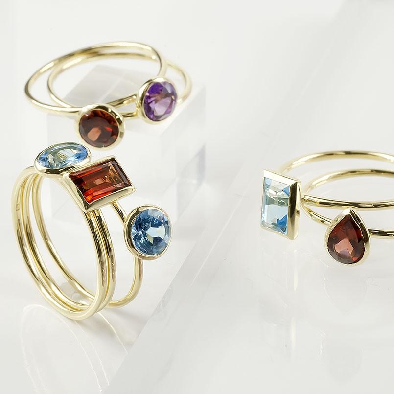18金 リング ゴールド 選べる天然石 選べるカット レディース 指輪 イエローゴールドk18 18K ピンキーリング 重ね付け 婚約指輪 安い 華奢 女性 送料無料