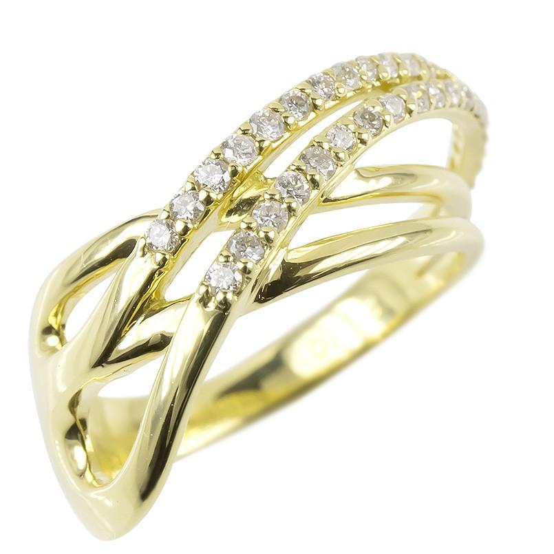 18金 リング ゴールド ダイヤモンド レディース 指輪 幅広 イエローゴールドk18 婚約指輪 安い ピンキーリング 女性 送料無料