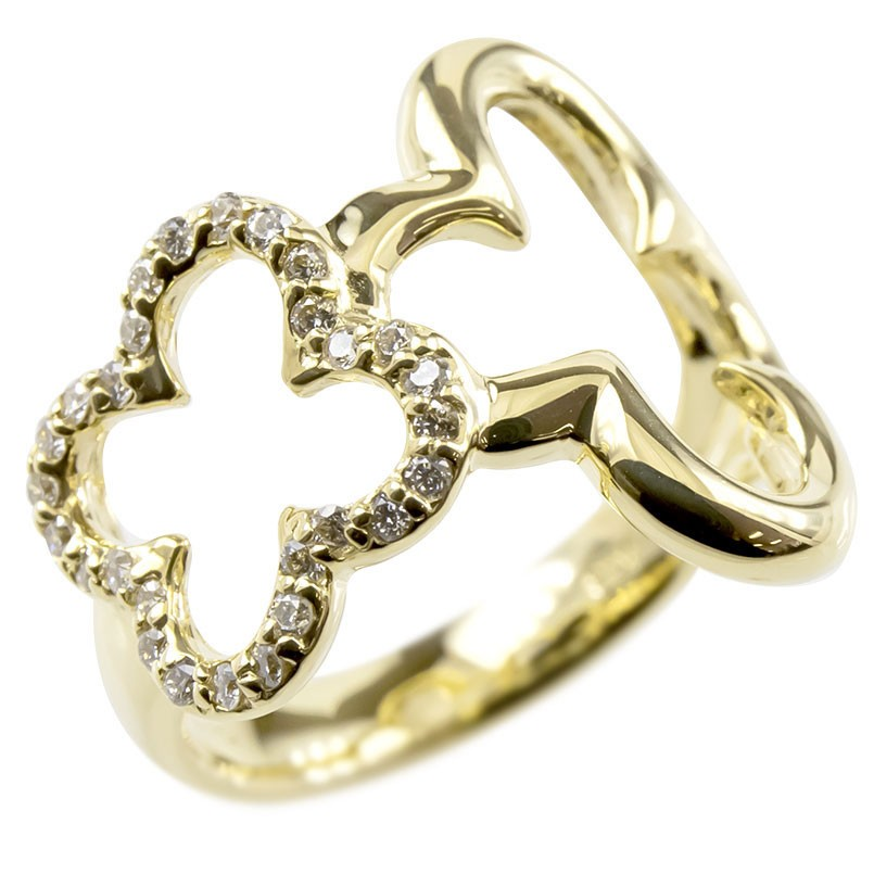 18金 リング ゴールド ダイヤモンド レディース クローバー 指輪 幅広 イエローゴールドk18 透かし 婚約指輪 安い ピンキーリング 花 送料無料