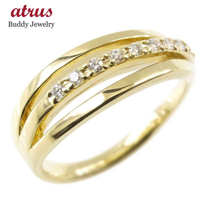 ゴールド リング ダイヤモンド レディース 3連リング 指輪 イエローゴールドk10 婚約指輪 安い ピンキーリング 送料無料