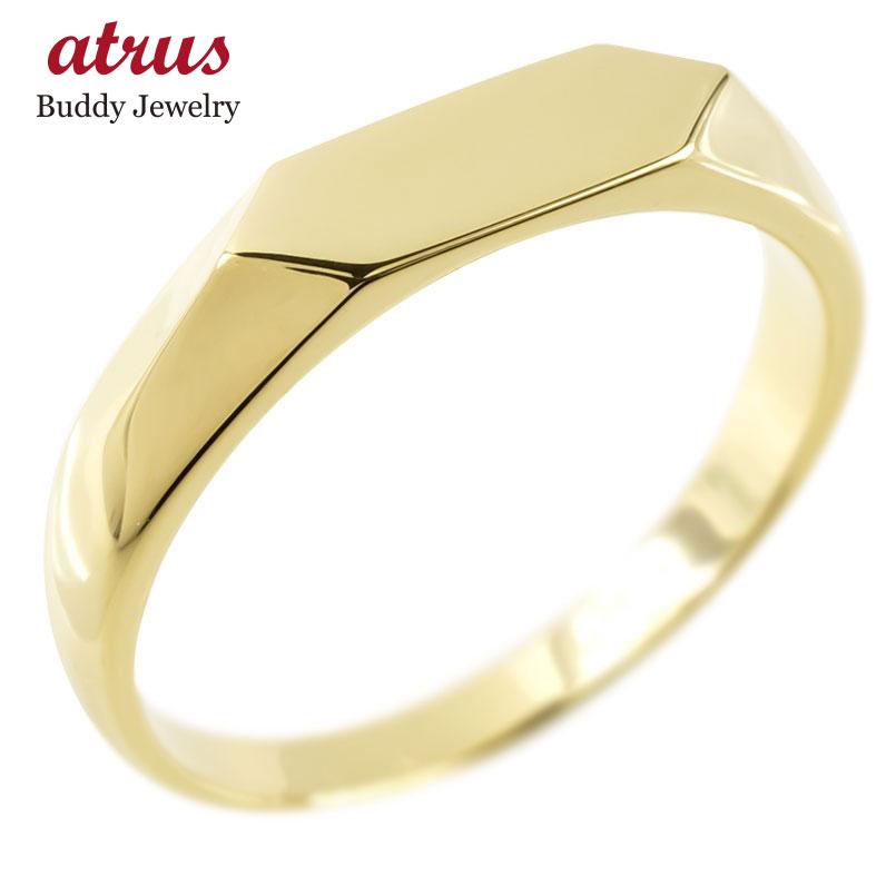 18金 リング ゴールド メンズ 印台 指輪 地金 イエローゴールドk18 シンプル ピンキーリング リング 男性 人気 送料無料