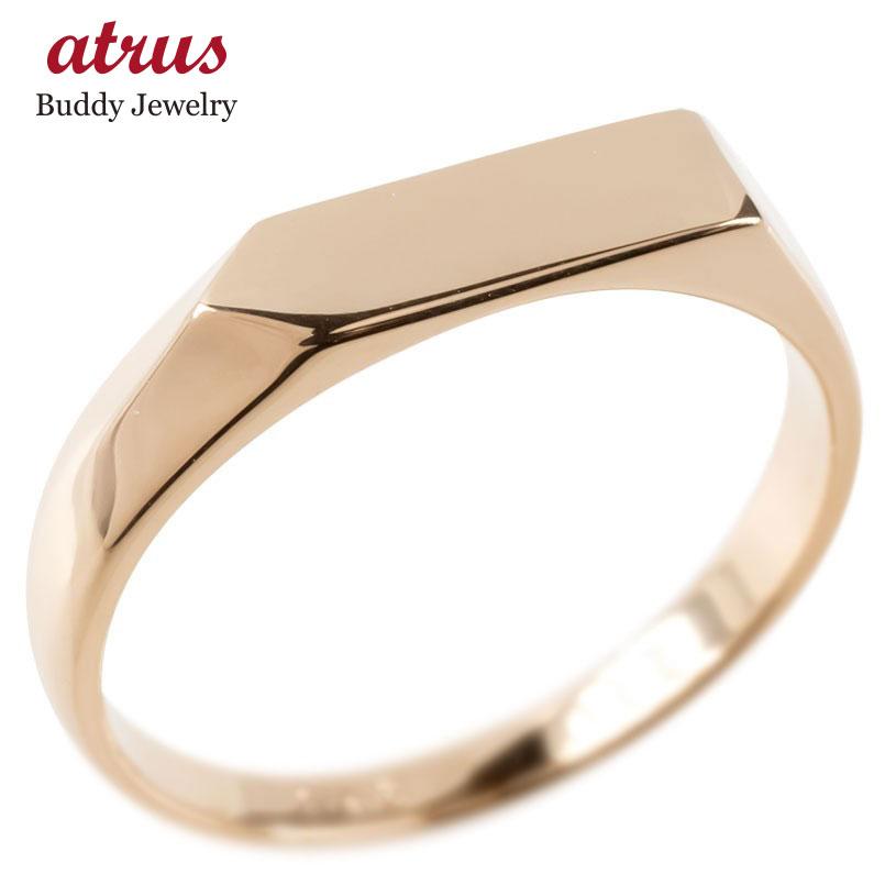 18金 リング ゴールド メンズ 印台 指輪 地金 ピンクゴールドk18 シンプル ピンキーリング リング 男性 人気 送料無料