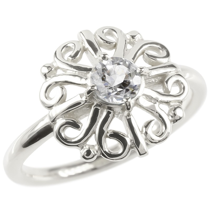 プラチナ リング ダイヤモンド 一粒 大粒 レディース 指輪 pt900 婚約指輪 安い エンゲージリング ピンキーリング 透かし アラベスク アンティーク 花 フラワー